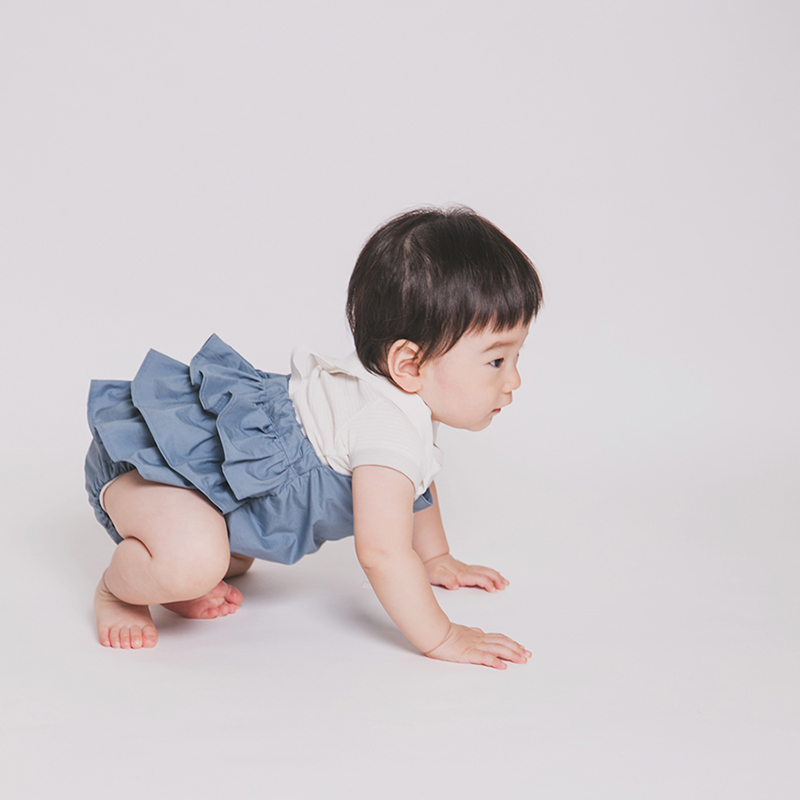[送料無料]mimi poupons(ミミプポン)/フリルサロペット 70cm〜80cm オーバーオール 1歳 誕生日 クリックポストR