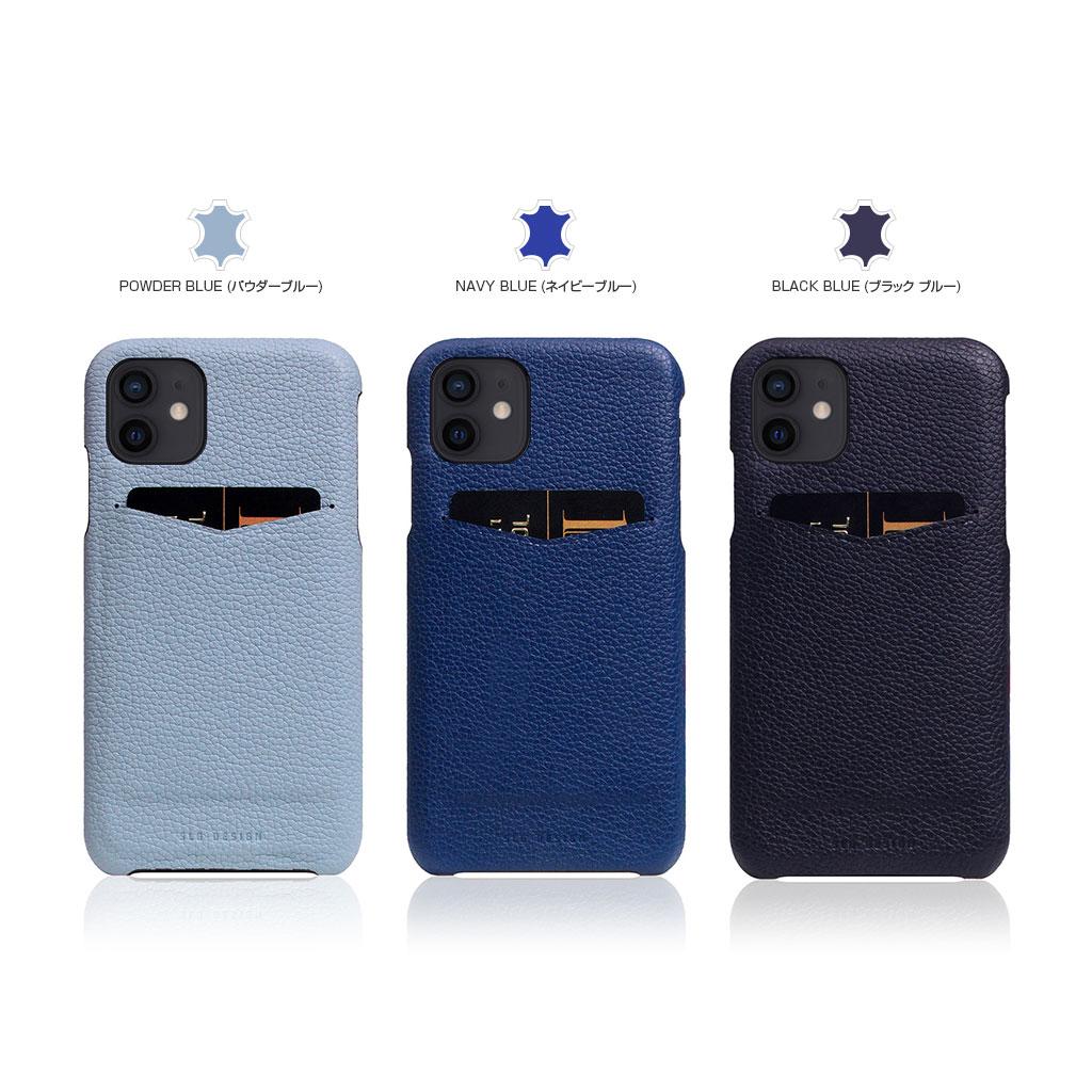 【iPhone12 mini】SLG Design Full Grain Leather Back Case ブラックブルー