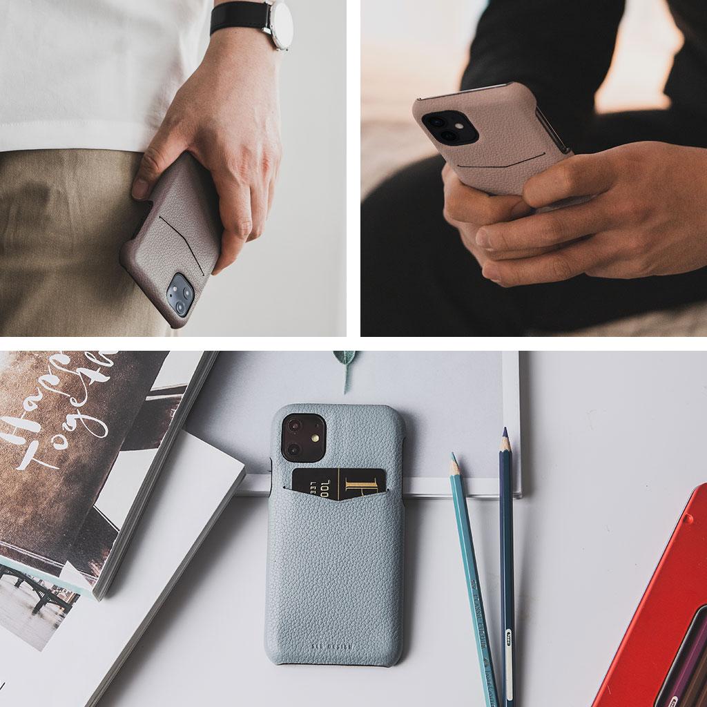 【iPhone12/12 Pro】SLG Design Full Grain Leather Back Case ブラウンクリーム