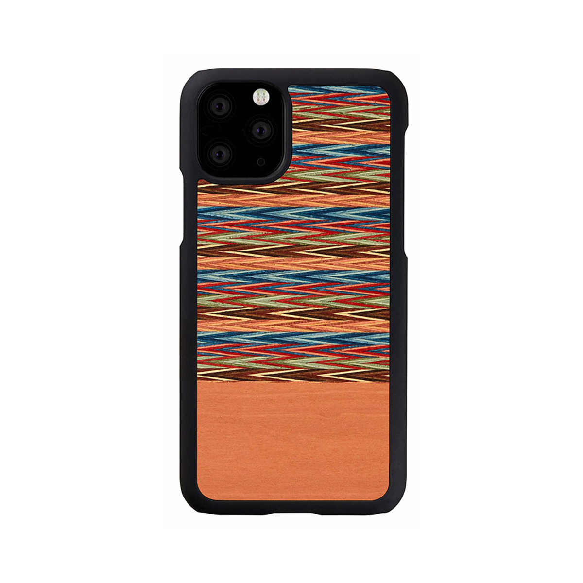 【ネコポス送料無料】【iPhone11 Pro】Man&Wood 天然木ケース Browny Check