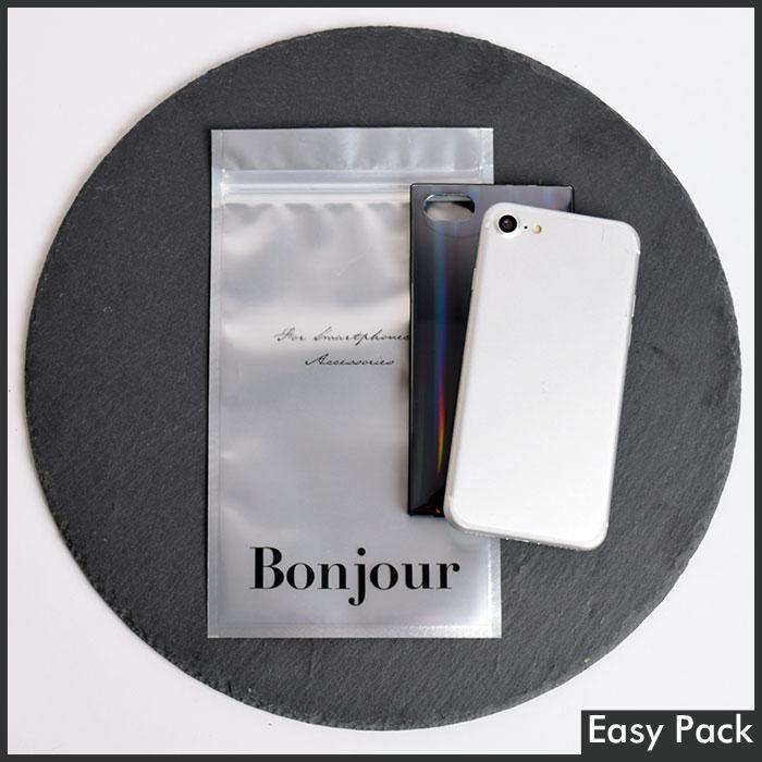 【SP-BJ-S】 【法人様宛は送料無料】 チャック付きスマホケース袋 『Bonjour』 色:シルバー / サイズ S  (外寸:縦215mm × 横120mm)