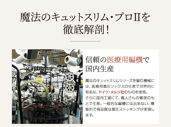 【単品販売】 着圧ストッキング  プロ2 医療用編機使用 むくみ 日本製 美脚  弾性ストッキング ガードル機能付き 140デニール<br>【魔法のキュットスリム・プロII(単品販売)】