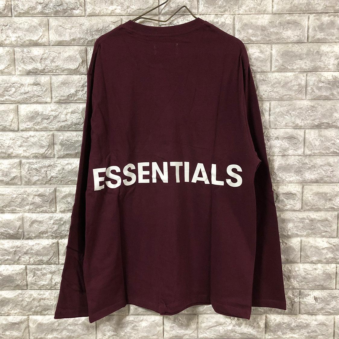 新品【Sサイズ】 FOG Fear Of God Essentials フェアオブゴッド エッセンシャルズ LOGO TEE ロングTシャツ ロンT えんじ エッセンシャル