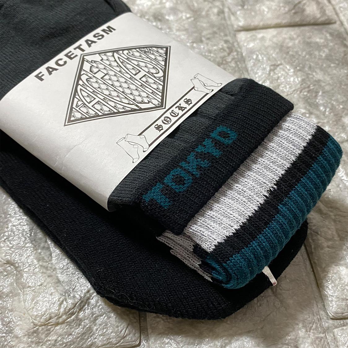 新品 FACETASM ファセッタズム 靴下 ハイソックス LOGO SOCKS ロゴ フリーサイズ メンズ グリーン