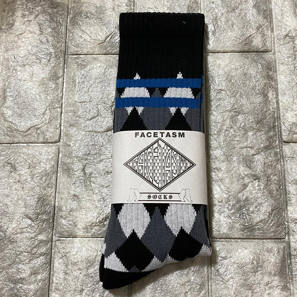 新品 FACETASM ファセッタズム 靴下 ハイソックス LOGO SOCKS ロゴ フリーサイズ メンズ ブルー