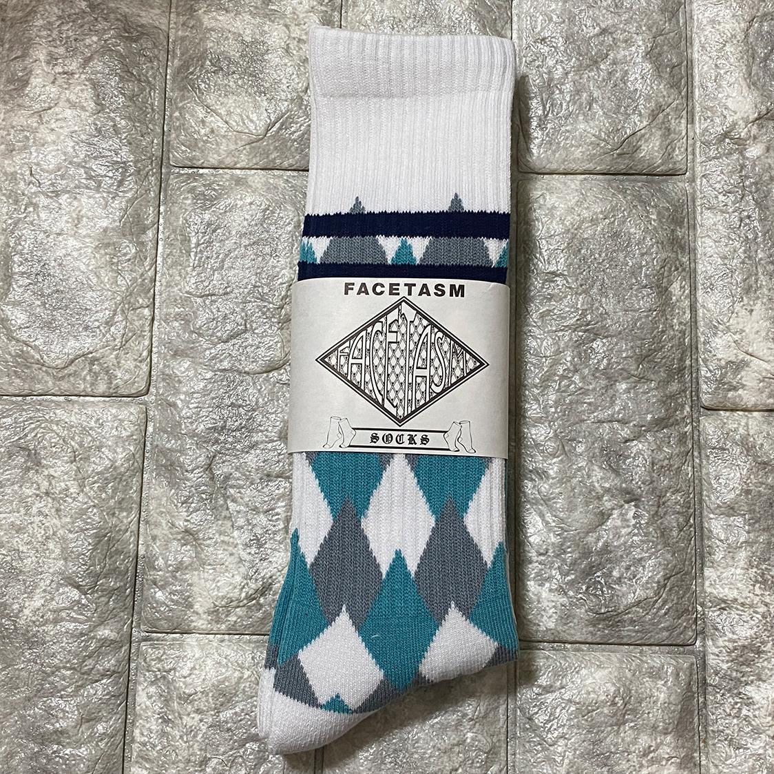新品 FACETASM ファセッタズム 靴下 ハイソックス LOGO SOCKS ロゴ フリーサイズ メンズ ホワイト 水色