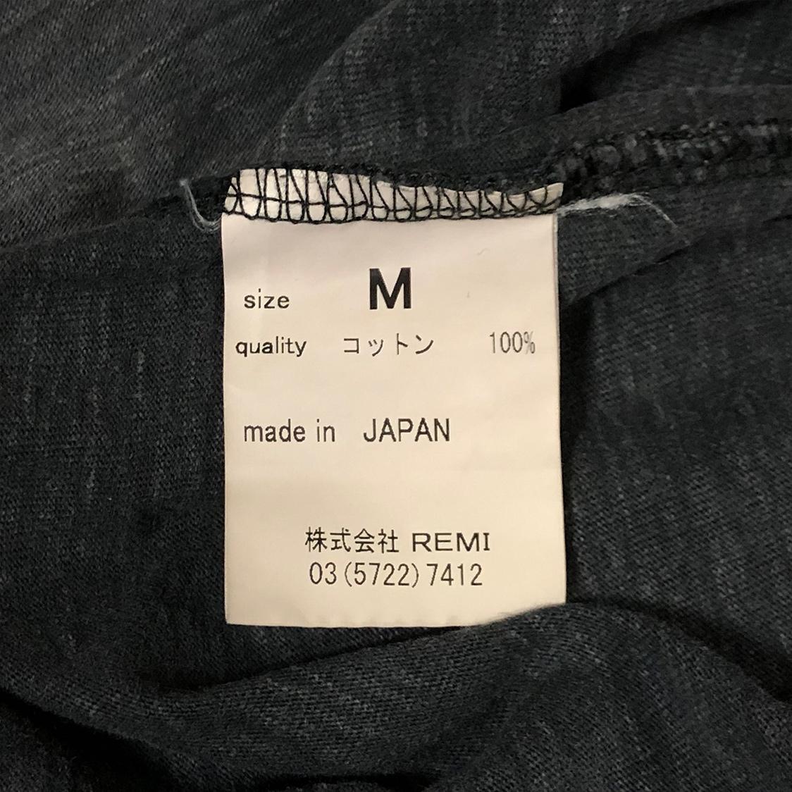 REMI RELIEF レミレリーフ Mサイズ 無地 ポケット付き Tシャツ カットソー 半袖 霜降り ブラック