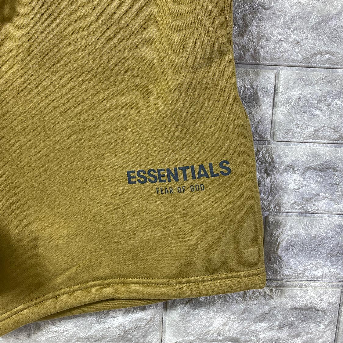 2021新作 新品 Fear Of God Essentials フェアオブゴッド エッセンシャルズ【Sサイズ】 ロゴ スウェット ショーツ ハーフパンツ AMBER アンバー FOG