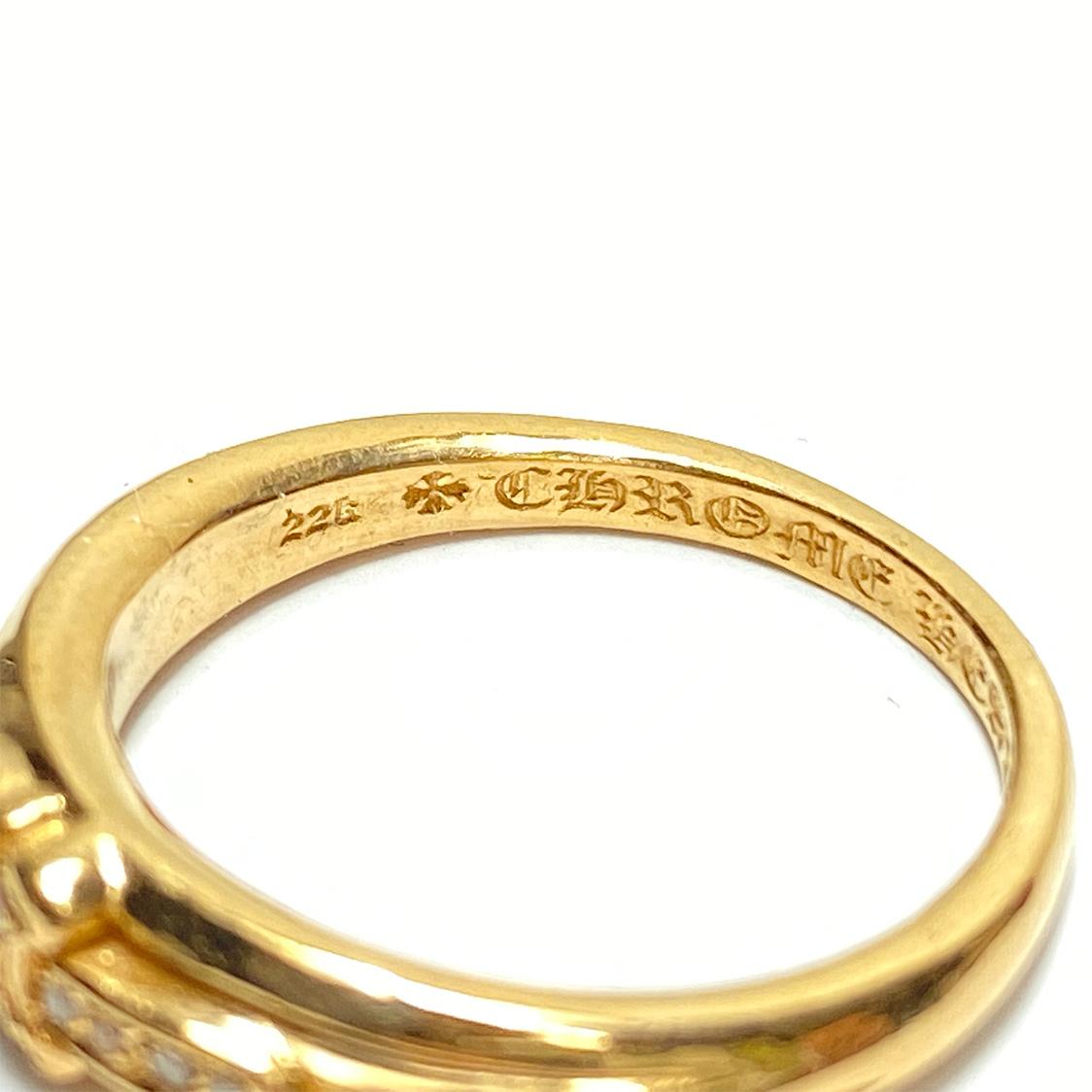 クロムハーツ CHROME HEARTS 22K ベビー クラシック ダガー リング 18号 指輪 フローラルクロス