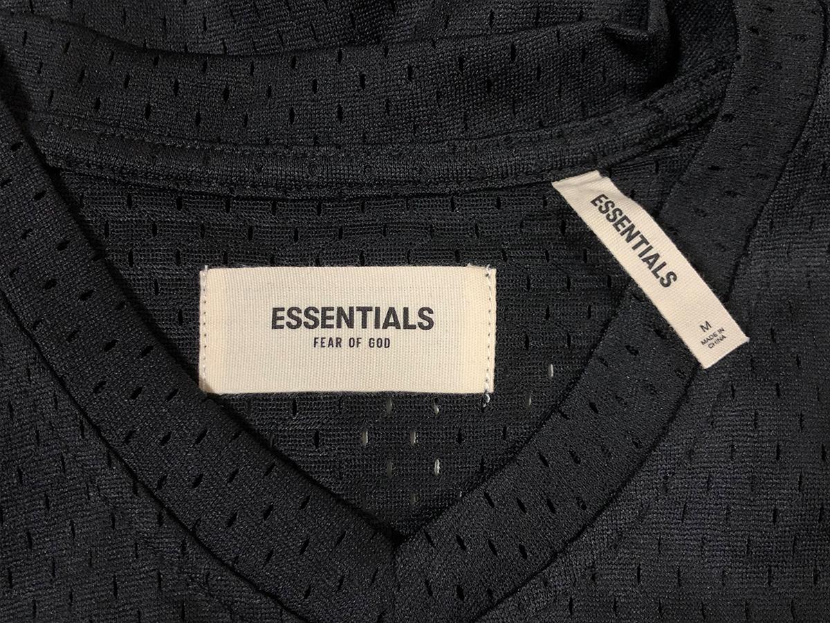 新品【Mサイズ】 FOG Fear Of God Essentials フィアオブゴッド エッセンシャル Mesh T-Shirt メッシュTシャツ カットソー ブラック