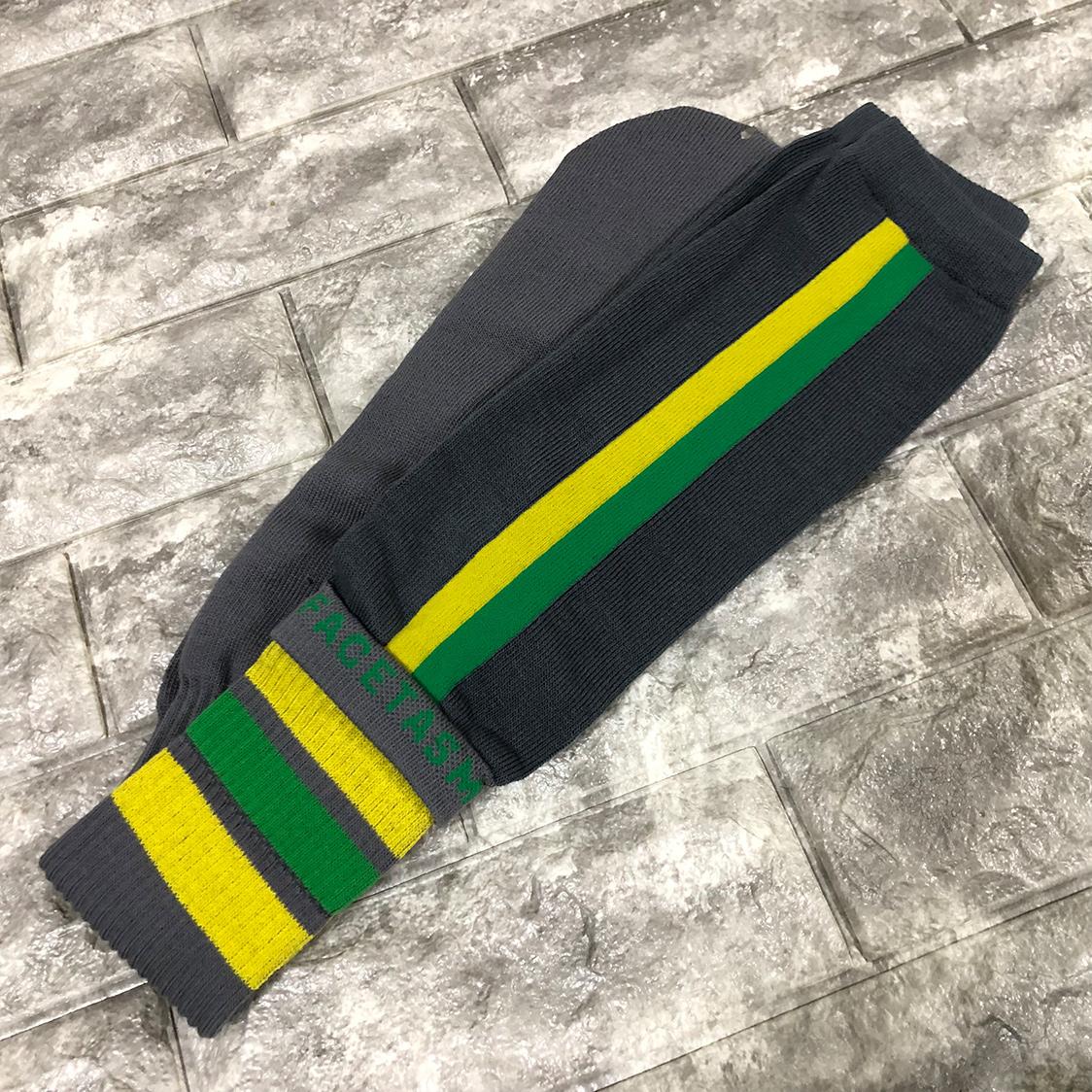 新品 FACETASM ファセッタズム 靴下 ハイソックス LOGO SOCKS ロゴ フリーサイズ メンズ グレー グリーン イエロー