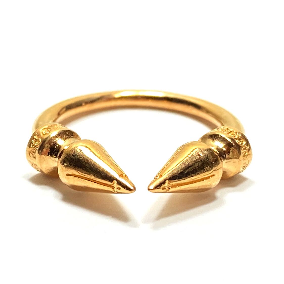 新作 希少 クロムハーツ CHROME HEARTS 22K ダブルスパイク リング M 指輪 DOUBLE SPIKE RING