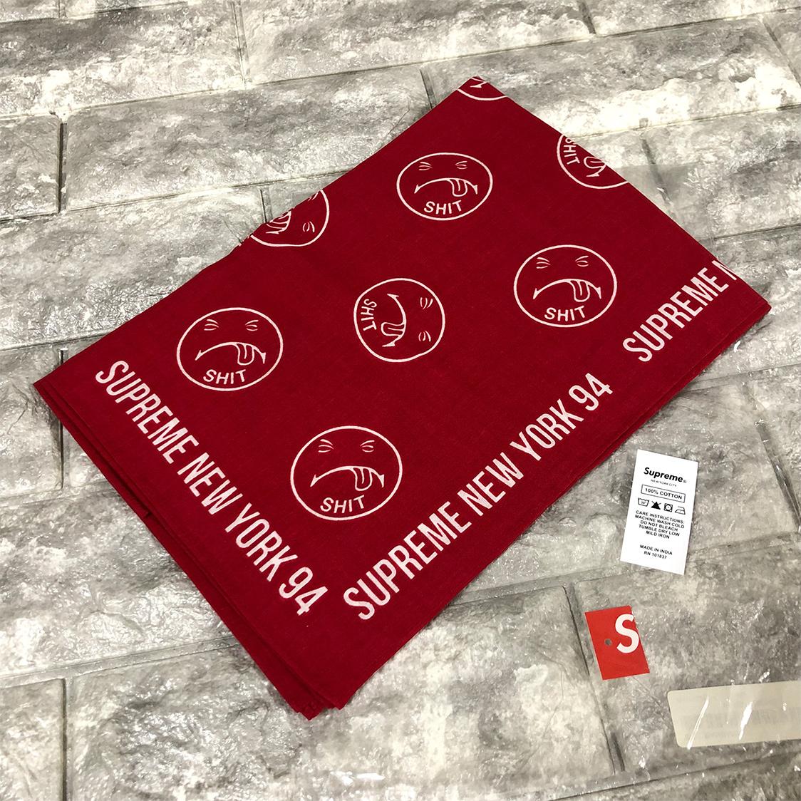 新品 正規品 SUPREME シュプリーム バンダナ レッド SHIT NEW YORK 94