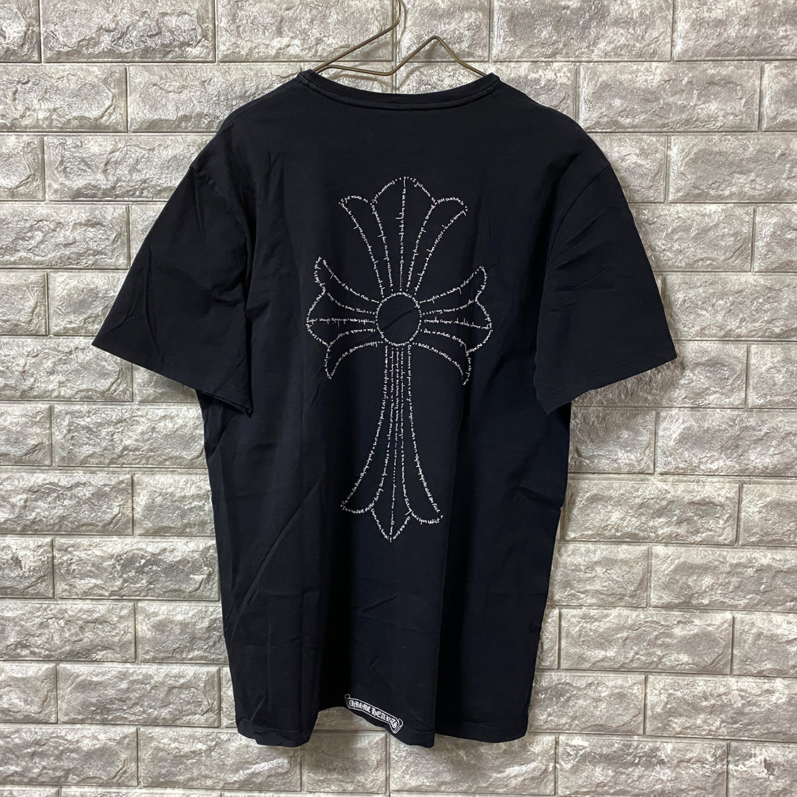 クロムハーツ CHROMEHEARTS【Lサイズ】 スペルクロス バックプリント Tシャツ カ ットソー ブラック