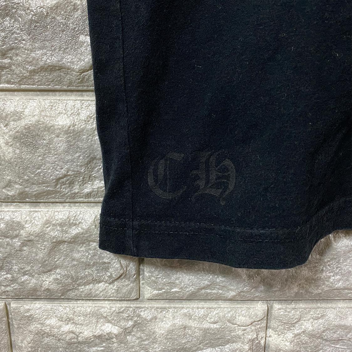 クロムハーツ CHROMEHEARTS【Mサイズ】 クロス バックプリント ポケット付き Tシャツ カ ットソー ブラック