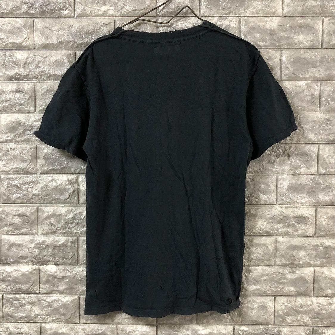 UNUSED アンユーズド【Mサイズ】クラッシュ加工 Tシャツ カットソー ブラック ビッグシルエット