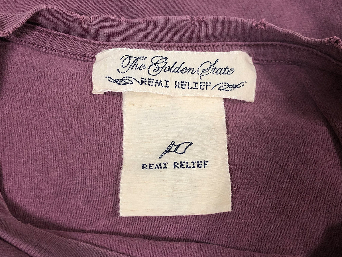 REMI RELIEF レミレリーフ ダメージ加工 Tシャツ カットソー プリント M パープル