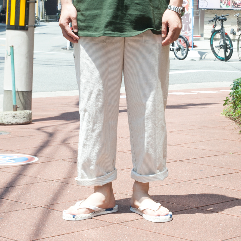 KINASHICYCLE 木梨サイクル【Sサイズ】ワイドシルエット ストライプイージーパンツ シジラサッカー生地 ベージュ 木梨憲武 とんねるず