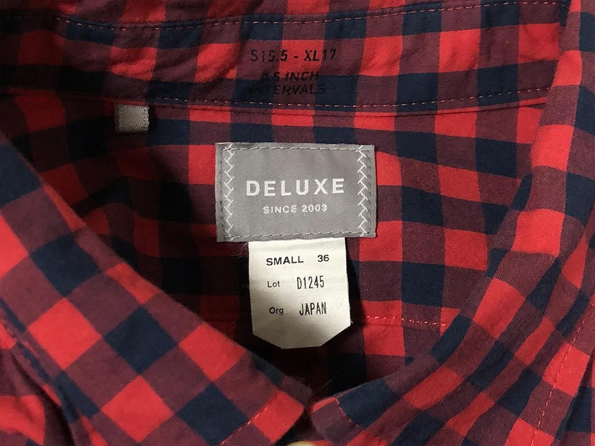 DELUXE デラックス ギンガム チェック シャツ 長袖 サイズS レッド
