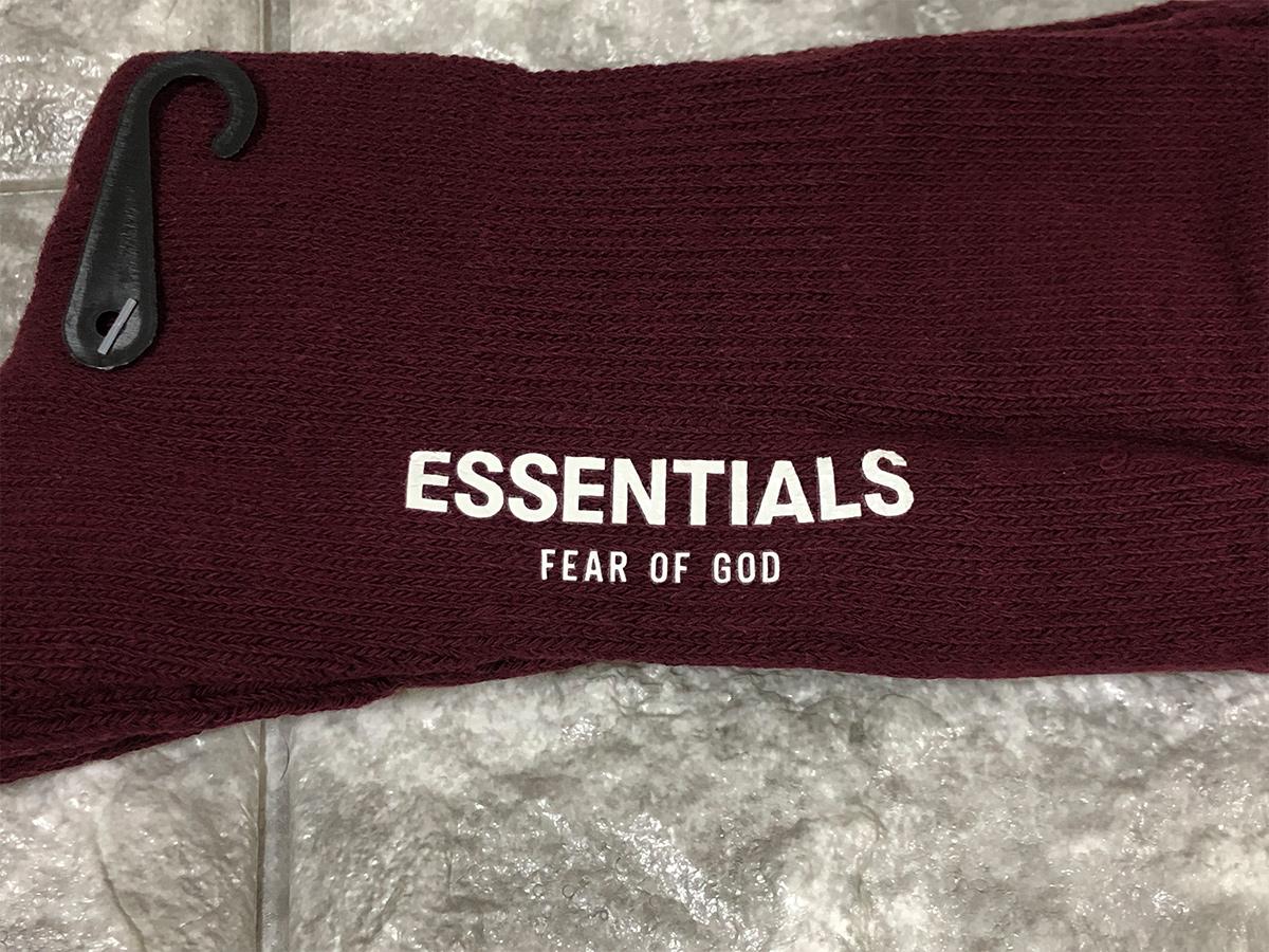 新品 正規品 FOG Fear Of God Essentials フェアオブゴッド エッセンシャルズ 靴下 ロゴ ソックス ハイソックス えんじ エッセンシャル