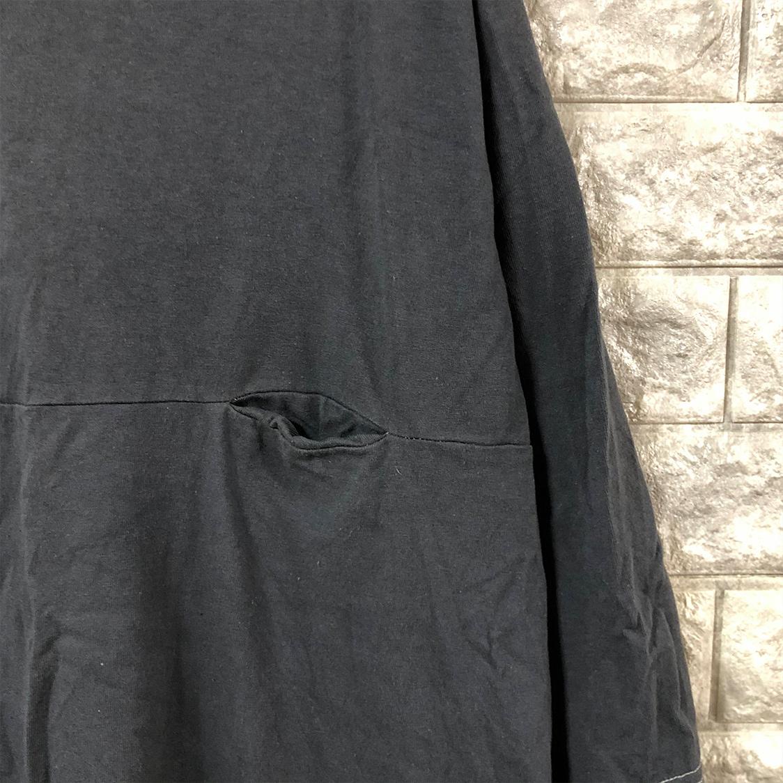 EEL (Easy Earl Life) Products イーイーエル イージーアールライフ プロダクツ 【Mサイズ】 7分袖丈 ポケット付き Tシャツ カットソー チャコールグレー ビッグシルエット