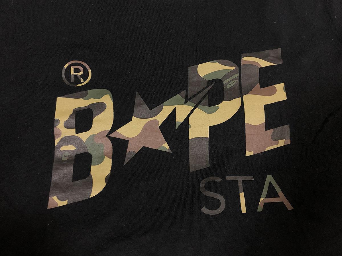 A BATHING APE ア ベイシング エイプ ロゴ Tシャツ ブラック カモ柄 迷彩 カットソー bapesta BAPE ベイプ NIGO