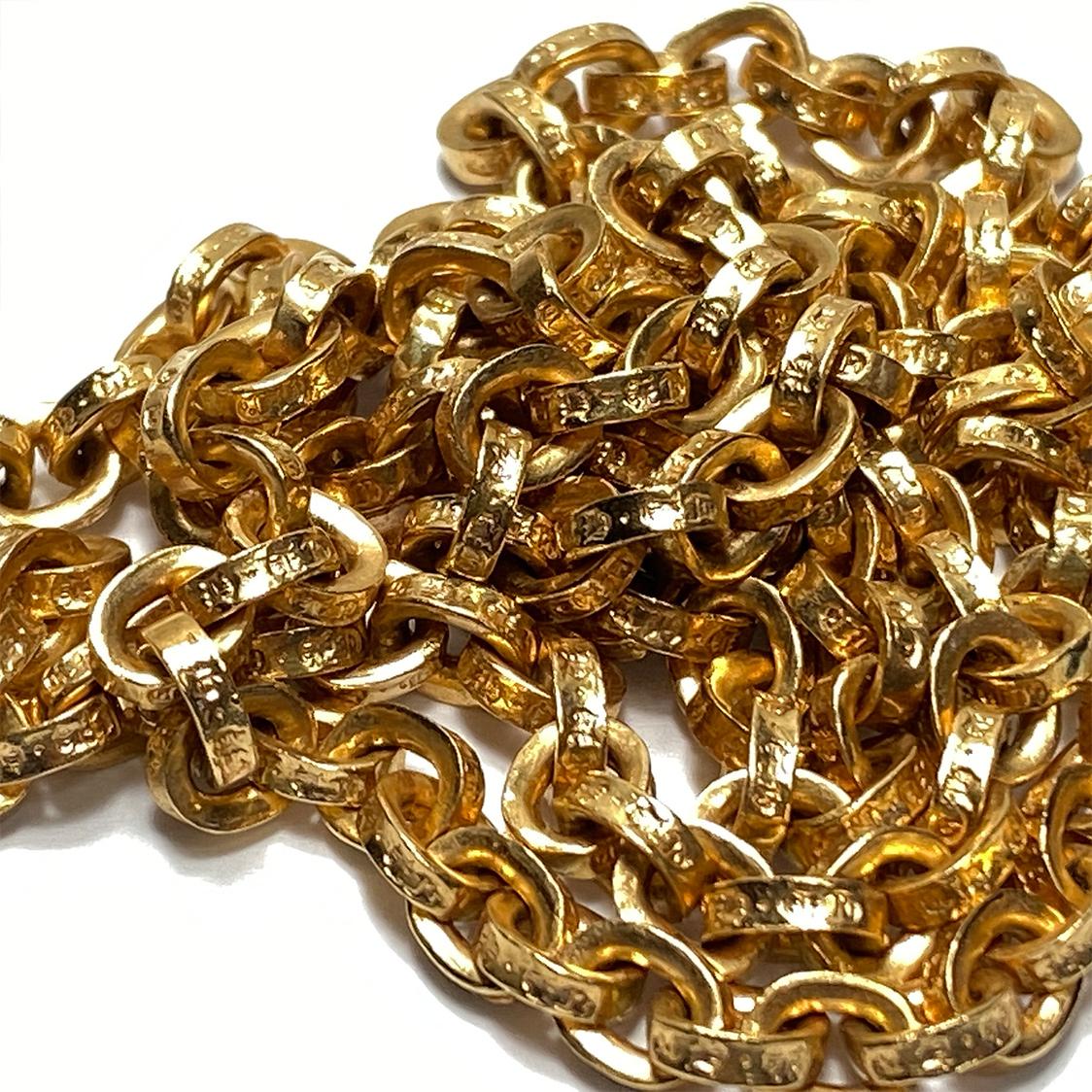 クロムハーツ CHROME HEARTS 22K ペーパーチェーン ネックレス 24インチ ネックレス ゴールド 約62cm