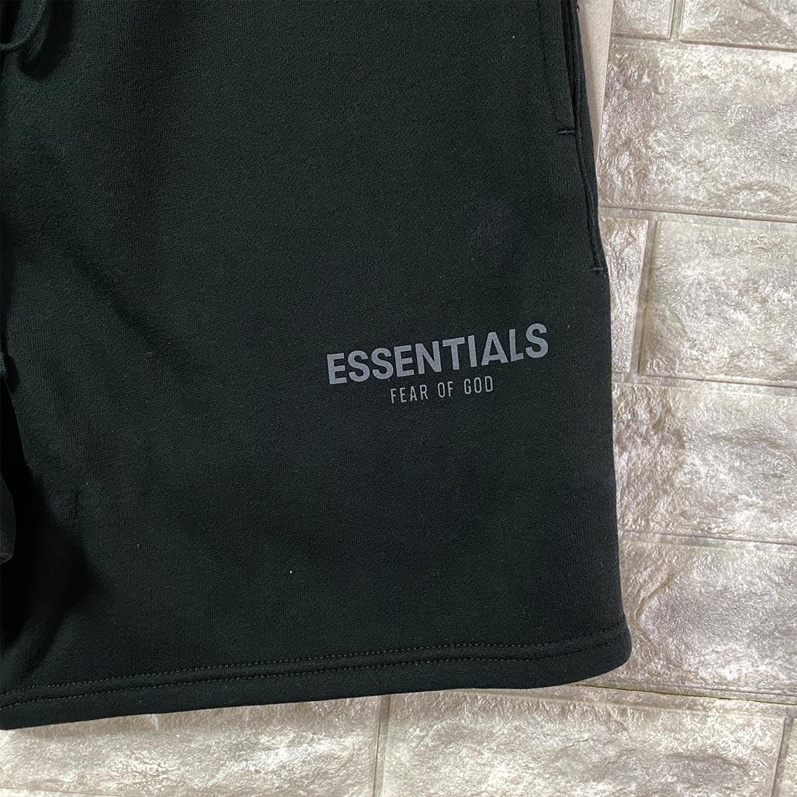 2021新作 新品 Fear Of God Essentials フェアオブゴッド エッセンシャルズ【Sサイズ】 ロゴ スウェット ショーツ ハーフパンツ ブラック FOG