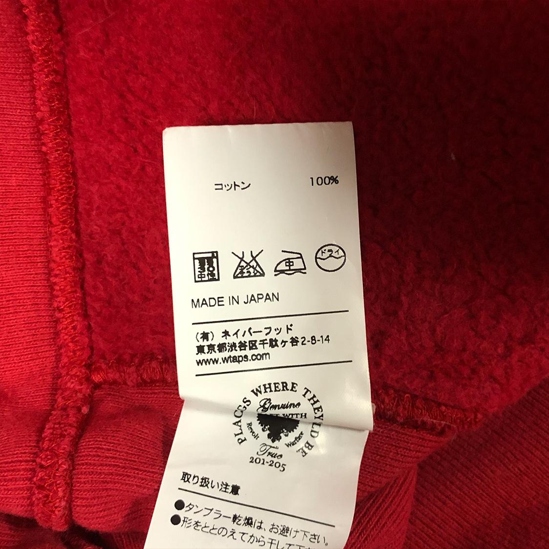 WTAPS ダブルタップス 【Mサイズ】 ロゴ プルオーバー パーカー フーディ レッド