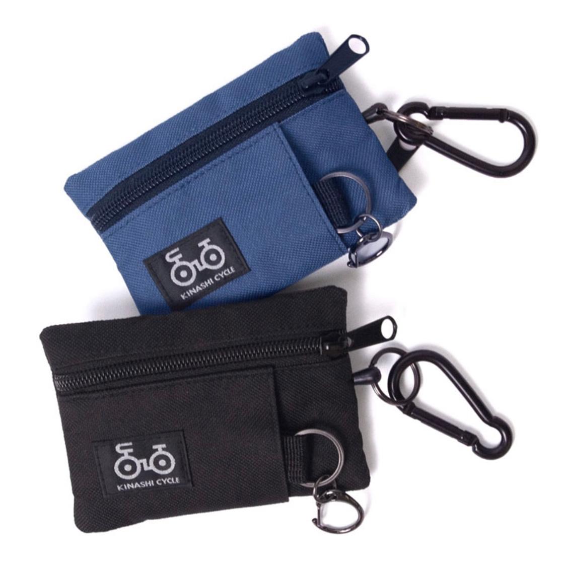 新品 木梨サイクル kinashicycle リール付き ポーチ ブラック / キーケース コインケース パスケース キーホルダー 財布 カードケース