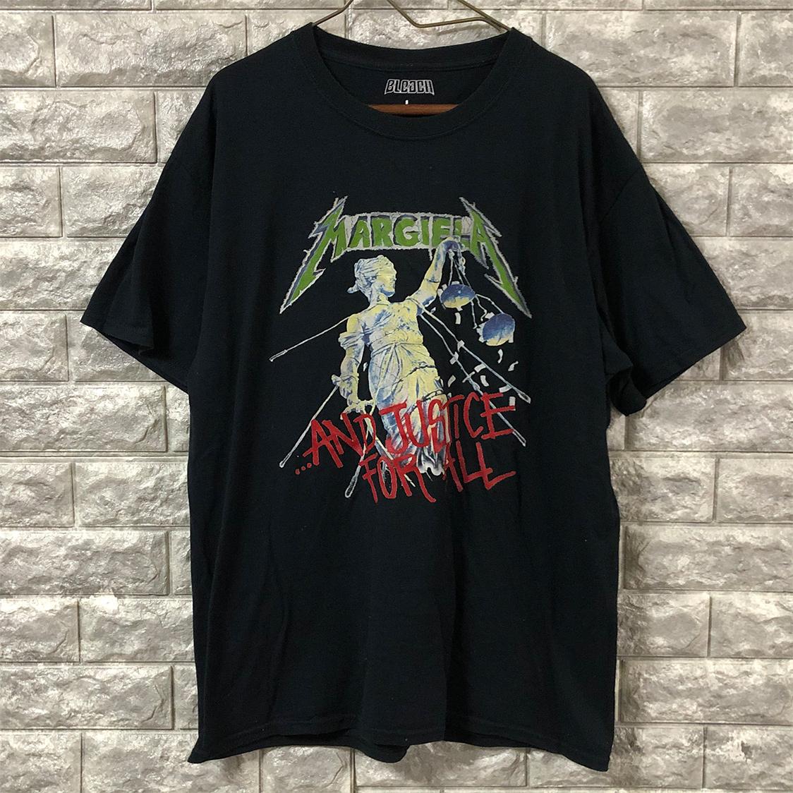 BLEACH ブリーチ 【Lサイズ】 パロディ Tシャツ バンドtee バックプリント ブラック メタリカ マルジェラ
