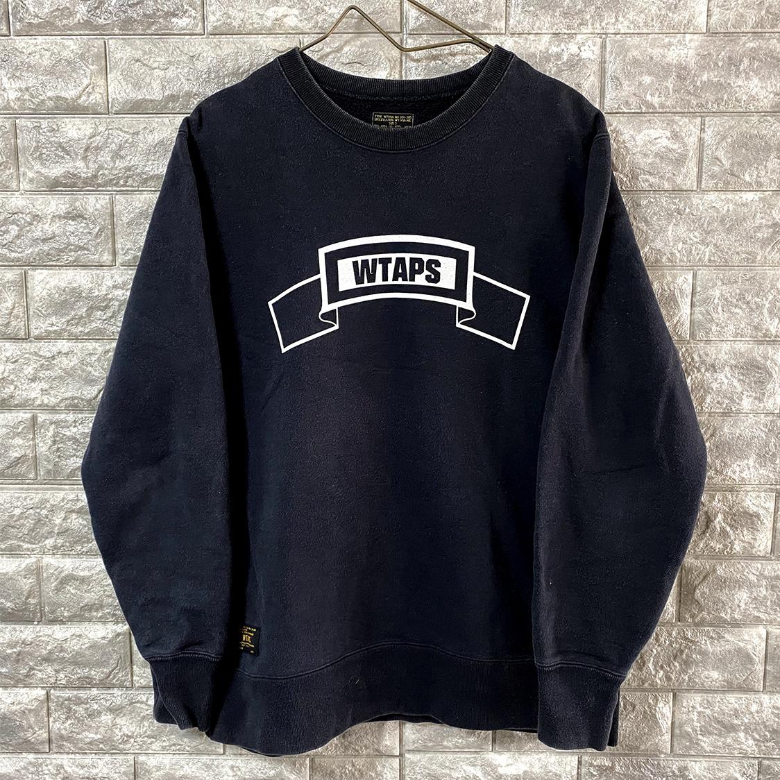 WTAPS ダブルタップス 【サイズ3】 ロゴ クルーネック スウェット ネイビー