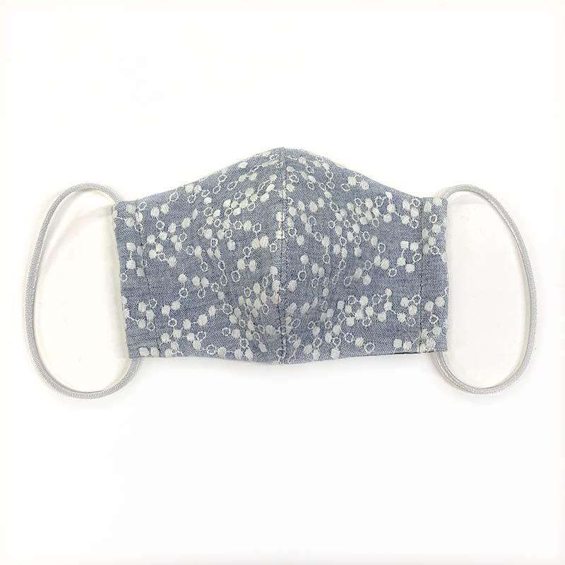web20201224-02 手作りマスクにもおすすめ水玉刺しゅうダブルガーゼ(プレゼント付き)10cm