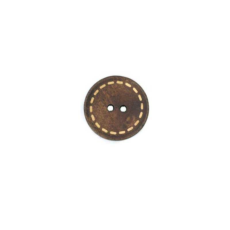 木工ボタン L ステッチ柄