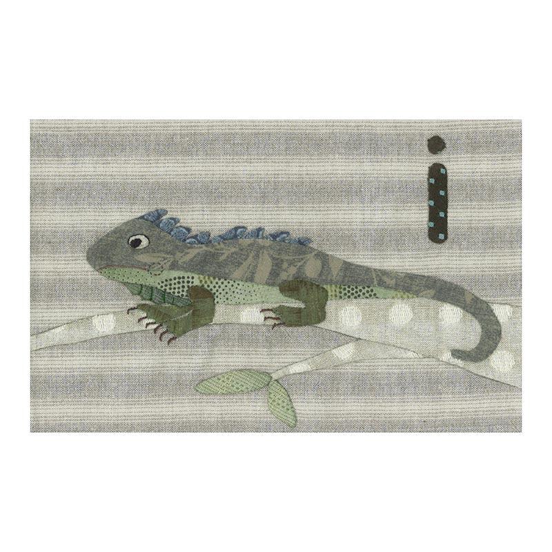 アルファベットで描くいきもの ぞう イグアナ (作り方なし)斉藤謠子の 布で描くいきものたち掲載