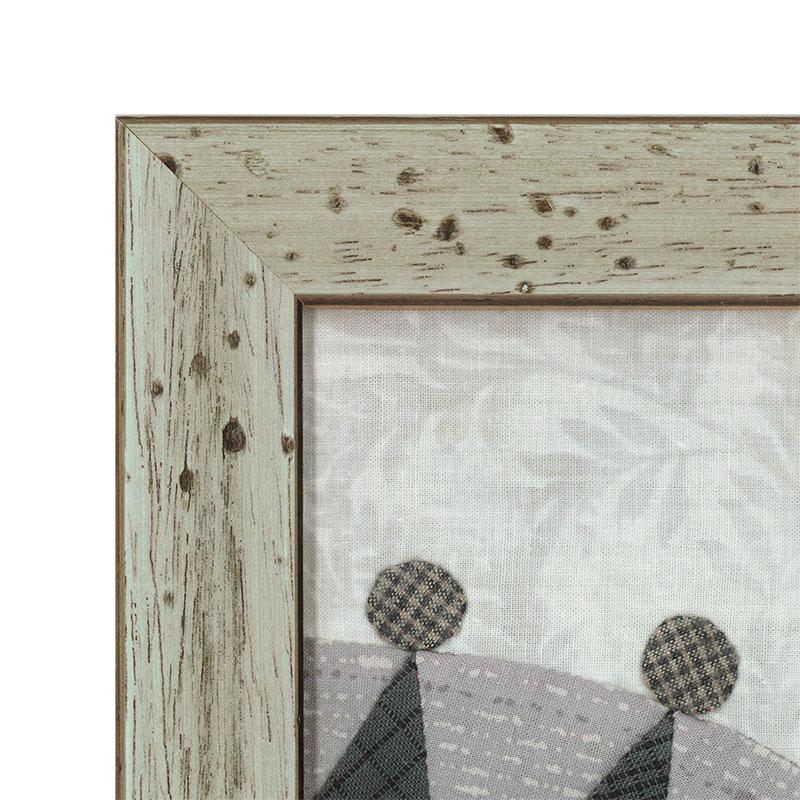 ブルーグレーの虫食いフレーム(18×18cm)