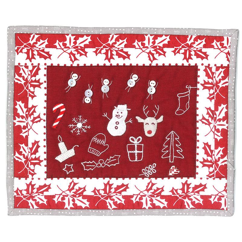 クリスマスのミニタペストリー 赤と白
