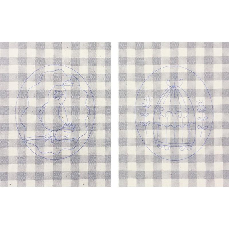 ことりとかごの図案と刺しゅう枠フレーム
