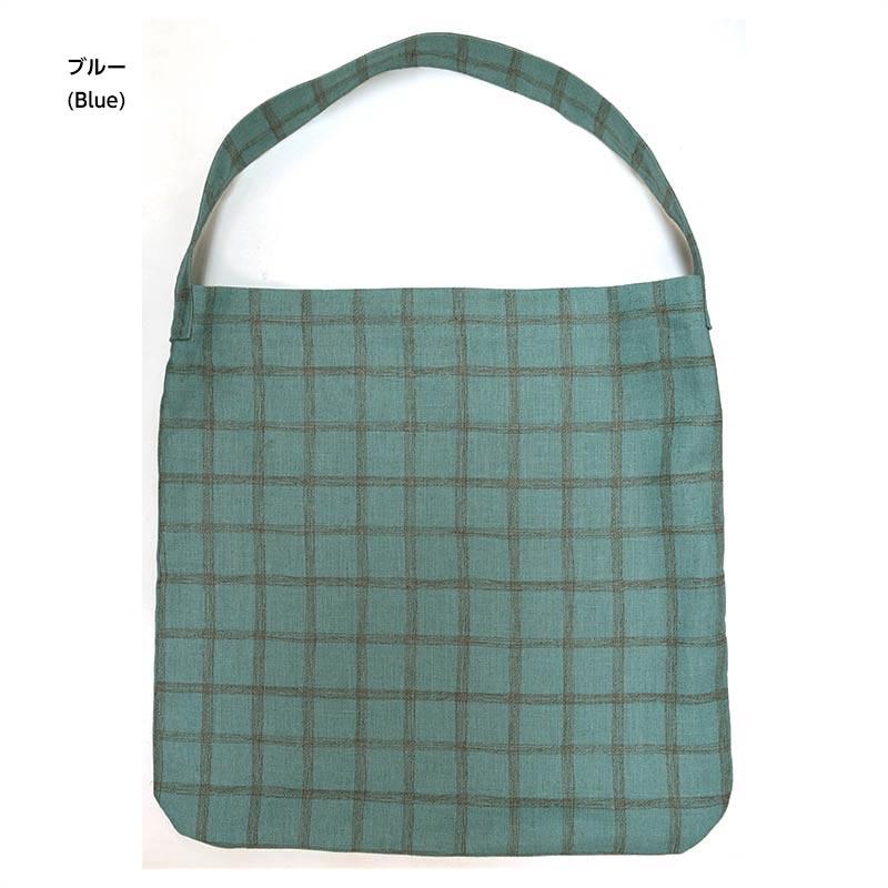 エコ(リネンプリント チェック)(作り方なし) 毎日着る服、毎日持つ布バッグ掲載