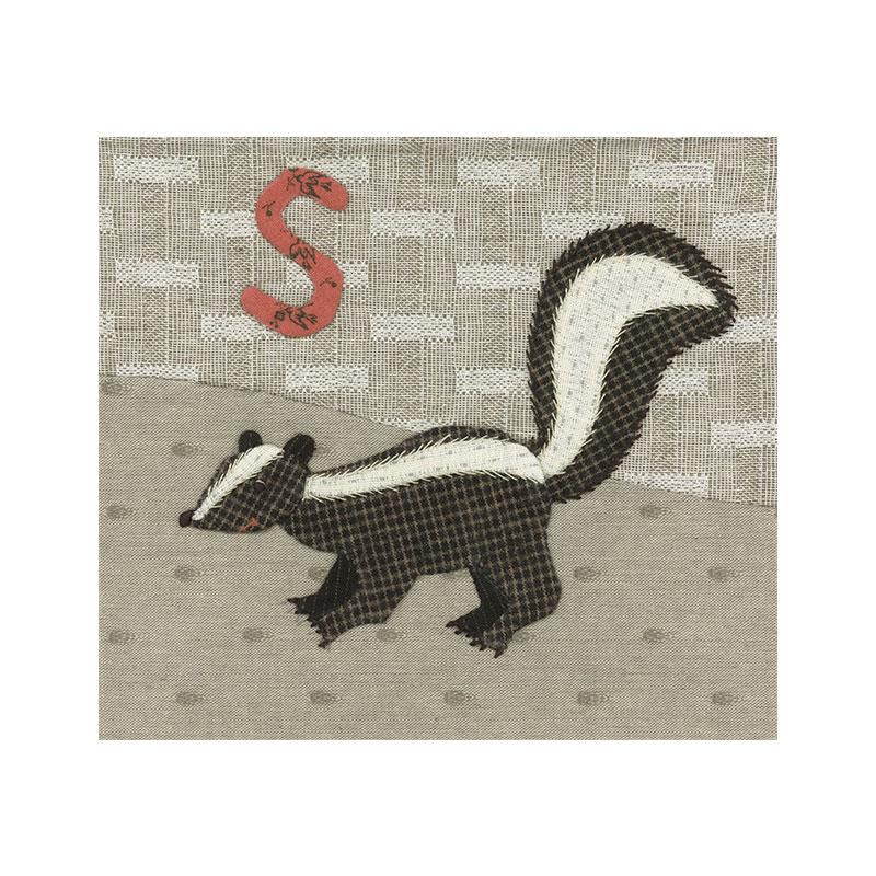 アルファベットで描くいきもの ふくろう スカンク (作り方なし)斉藤謠子の 布で描くいきものたち掲載