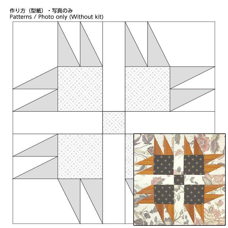 初心者さんにおすすめサンプラーキルト6 七面鳥の足跡型紙