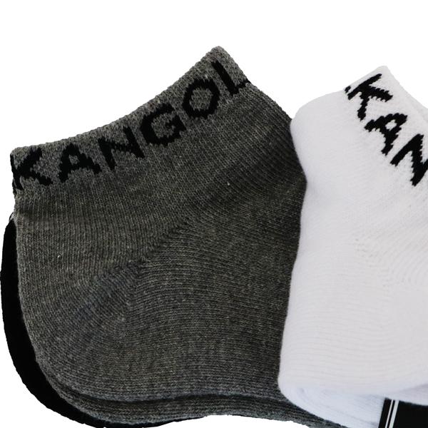 【KANGOL】靴下 3足セット ショート丈 男女兼用 ブラック ホワイト グレー 16153500