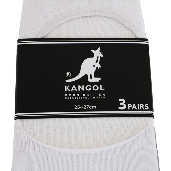 【KANGOL】靴下 3足セット インステップ 男女兼用 ブラック ホワイト グレー