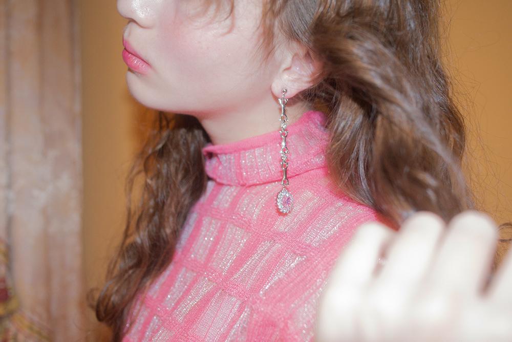 (2COLOR)  CHAIN STONE EARRING & PIERCE