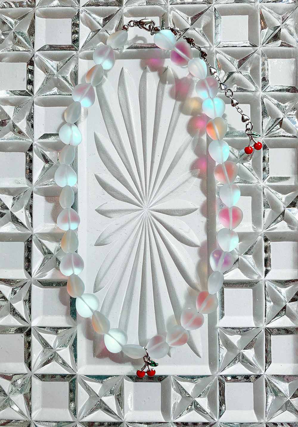 (3COLOR) HEART MOONSTONE NECKLACE