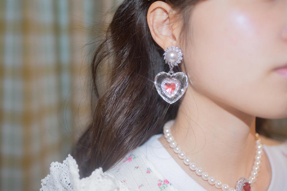 double heart pearl earring & pierce