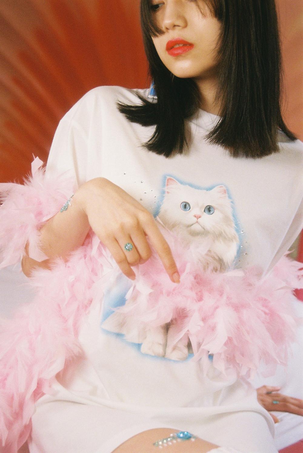 (4次入荷) (rsp made) white twinkle kitty tee shirt