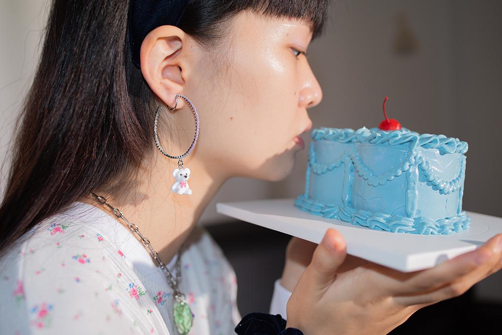 cherry bear ring earring & pierce