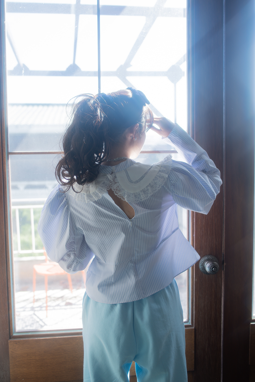 lace blue stripe blouse