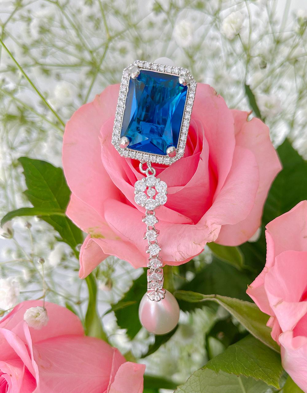 sapphire drop pearl earring & pierce